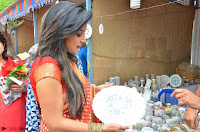 Sakshi Agarwal  in Orange Saree at Inauguration of Handloom And Handicraft exhibition ~  Exclusive 36.JPG