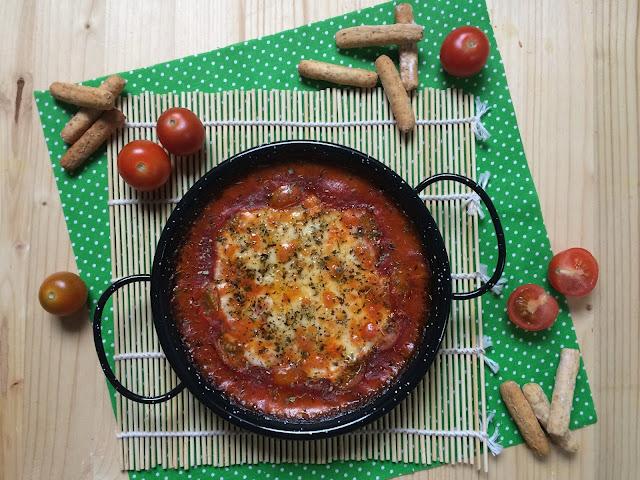 queso provolone al horno con tomate frito receta