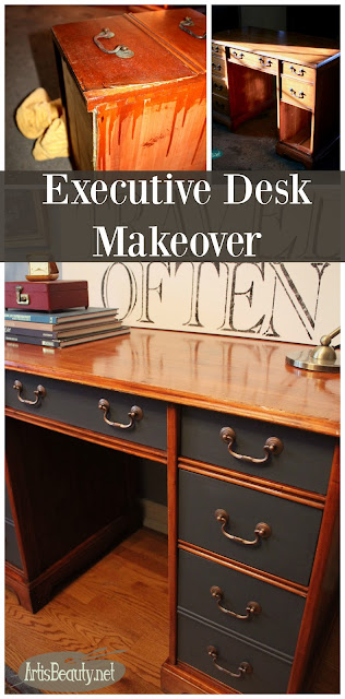 executive desk makeover before and after diy painted furniture cherry wood general finishes queenstown gray before and after