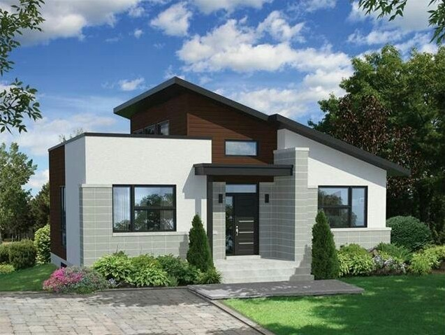 Simple House with Asymmetrical Roof