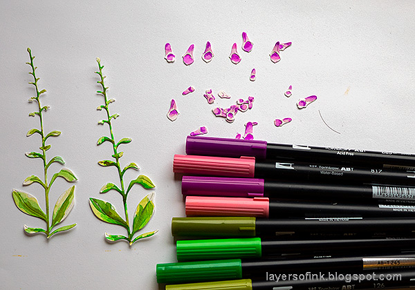 Layers of ink - Foxglove Tag Tutorial by Anna-Karin Evaldsson. Color with Tombow markers.