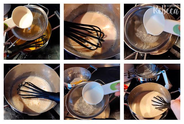 Receta de natillas: mezcla de los ingredientes