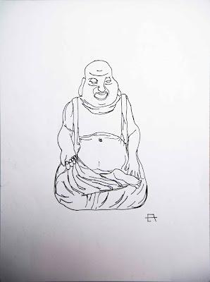 Eduardo Ávila: Buda. Rotulador negro sobre papel