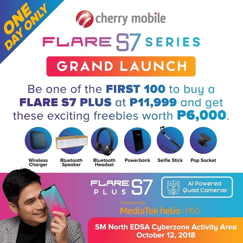 The first 100 to buy the Cherry Mobile Flare S7 Plus will get PHP 6K worth of freebies!