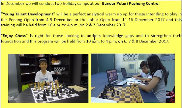 Holiday Camps in December at the Institute for Chess Excellence