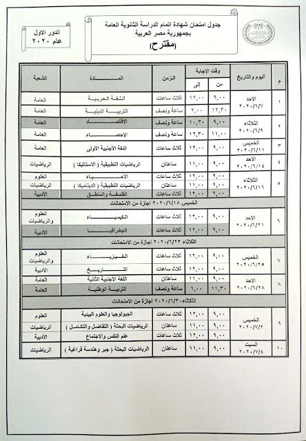 جدول امتحانات الصف الثالث الثانوي 2020 المقترح