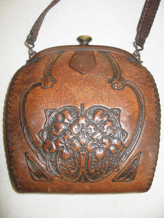 Deco Hand Tooled Leather Prairie Bag