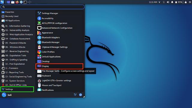 Display Settings on Kali Linux Menu