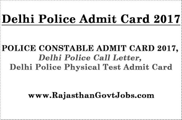 Delhi Police Admit Card 2017