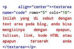 Kode HTML text area pada blog