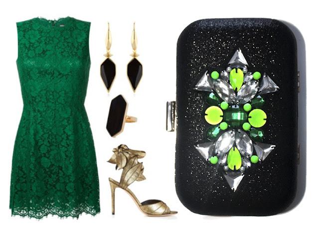 Combinar un vestido verde de encaje con clutch joya