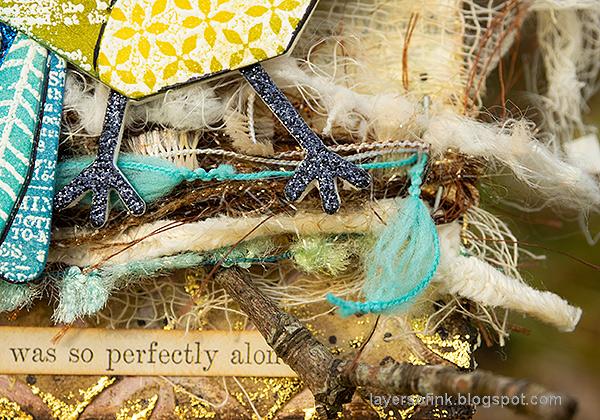 Layers of ink - Mixed Media Bird Tag Tutorial by Anna-Karin Evaldsson. Fiber bird nest.