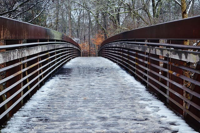 Snow on a bridge at South Carolina