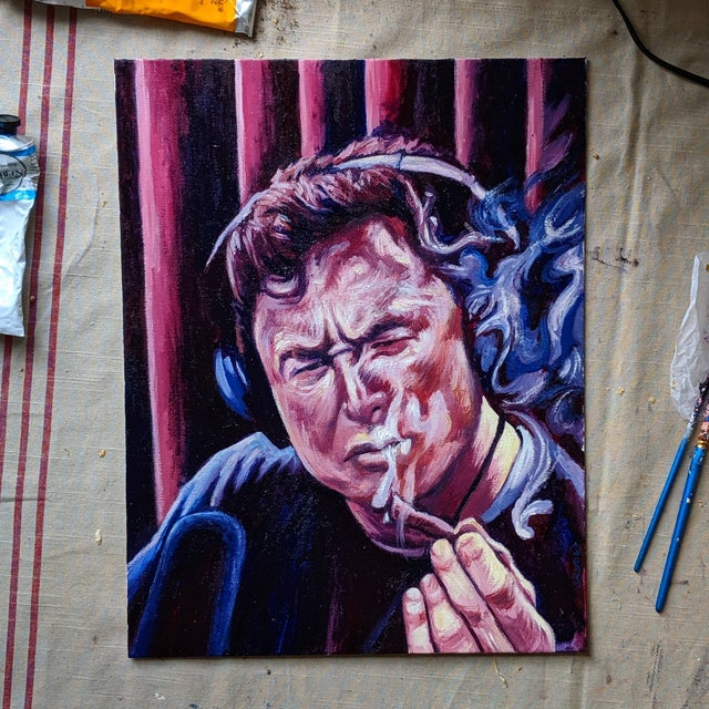 I painted elon musk smoking in oil