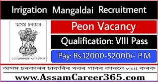 Irrigation Mangaldai Recruitment 2021 - 4 Grade IV Vacancy