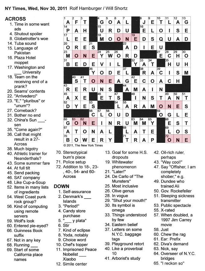 want ad letters crossword the new york times crossword in november 2011 25467 | New York Times Crossword by Rolf Hamburger edited by Will Shortz Wednesday November 30 2011