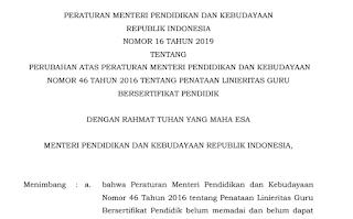 File Pendidikan Download Permendikbud No.16 Tahun 2019 Tentang Linearitas Guru Bersertifikasi