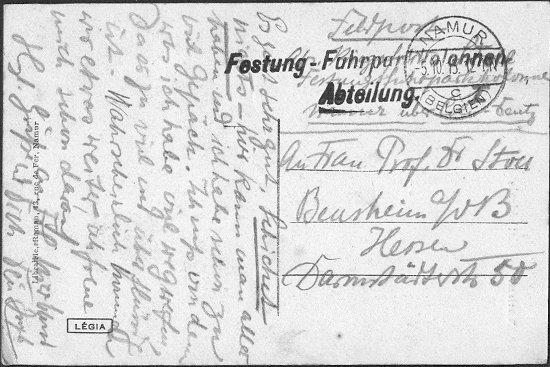 Joseph Stoll, Erster Weltkrieg, Festung Namur, Feldpostkarte 01; Nachlass Joseph Stoll Bensheim, Stoll-Berberich 2016