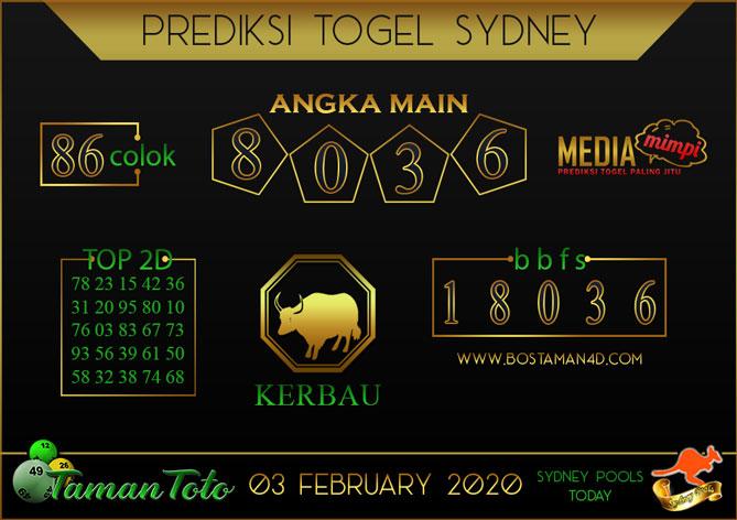 Prediksi Togel SYDNEY TAMAN TOTO 03 FEBRUARY 2020