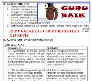 Rpp PJOK Kelas 1 Semester 1 K13 Revisi 2018