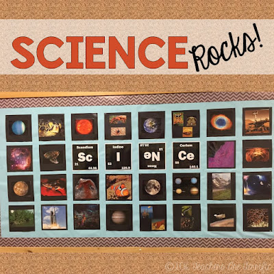 Science Bulletin Boards: Here's an easy and fun way to decorate a board for your science classroom! Science Rocks!