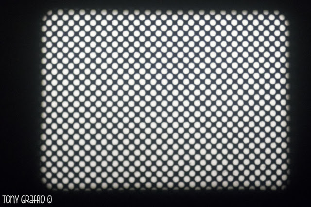 Two frames overlapped on the same screen of Dot Matrix, a Richard Tuohy's experimental film.