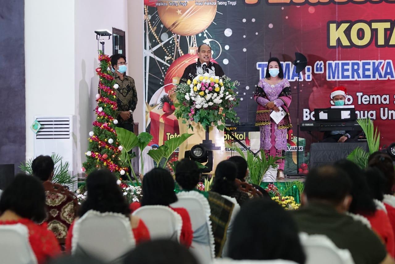 Walikota Tebingtinggi Menghadiri Perayaan Natal Oikumene Kota Tebingtinggi