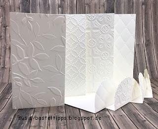 geprägte Kartensets mit stampin up prägeform kachelkundst, steppmuster, quiltmuster und blätter relief und mini kärtchen