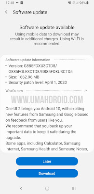 Download OneUI 2.0 Samsung via Software Update