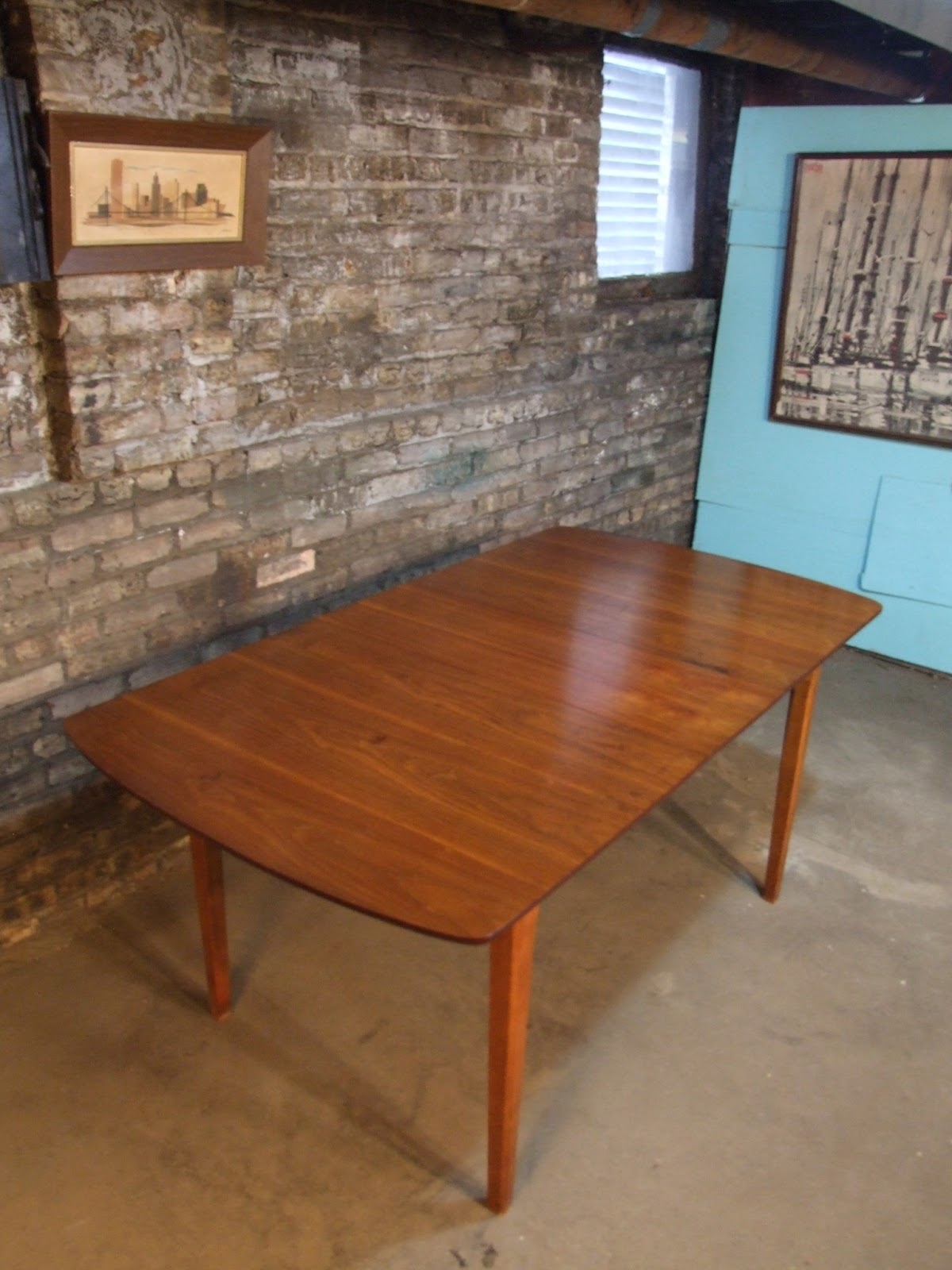 mid century kitchen table butcher block chicago danish modern