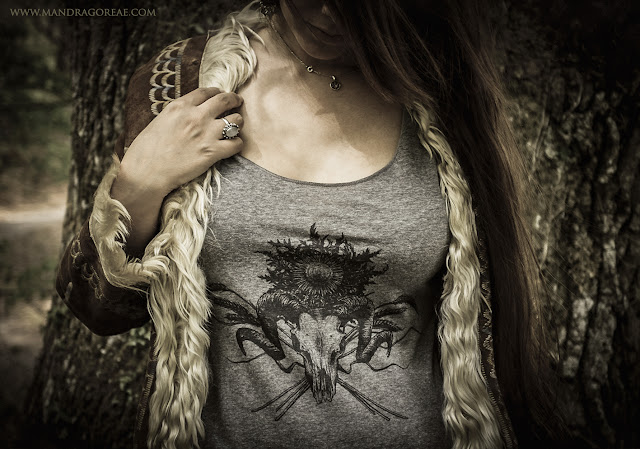 Aker Dantzaria T-Shirt Ink Design Ram Skull Eguzkilore Pagan Horned God Pan Faun by Victoria Francés