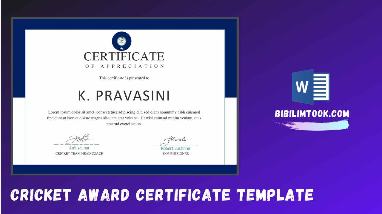 Free Cricket Award Certificate Template - Docx Download