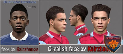 PES 2016 Face Ousmane Dembel and Grealish by Kairzhanov