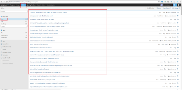 sonar qube admin panel rules tab
