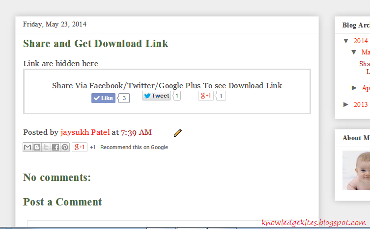 Show Download link or button after share or like on social media button