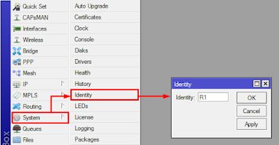 konfigurasi hostname melalui winbox