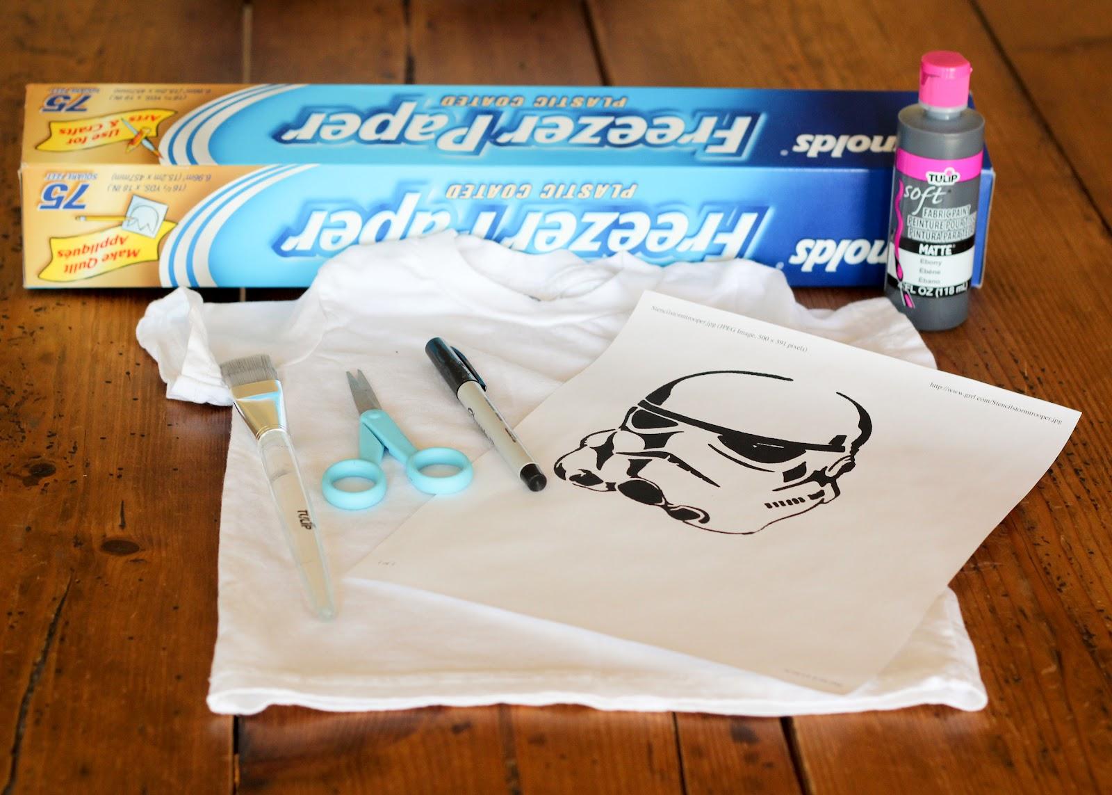 finley and oliver diy star wars freezer paper stencil t shirt. Black Bedroom Furniture Sets. Home Design Ideas