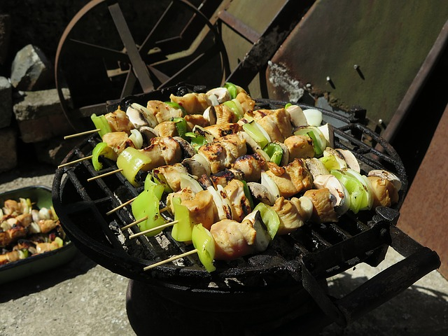 Chicken Kabobs: Chicken, Peppers, Onions, and Mushrooms