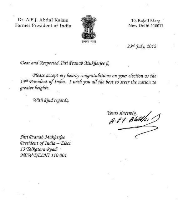 Dr A P J Abdul Kalam Congratulats Pranab Mukherjee