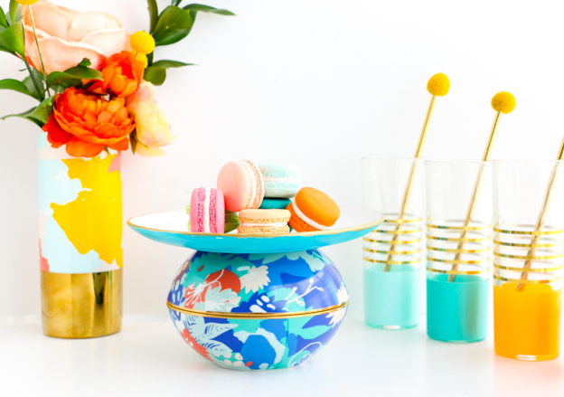 Oh Joy for Target Insipred Orb Cake Plate and Faux Flower Vase - How to easily expand your collection of Home Decor and party pieces with the new Oh Joy line - Easy and quick DIY ideas