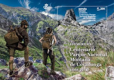 Hoja bloque del Centenario del Parque Nacional de la Montaña de Covadonga