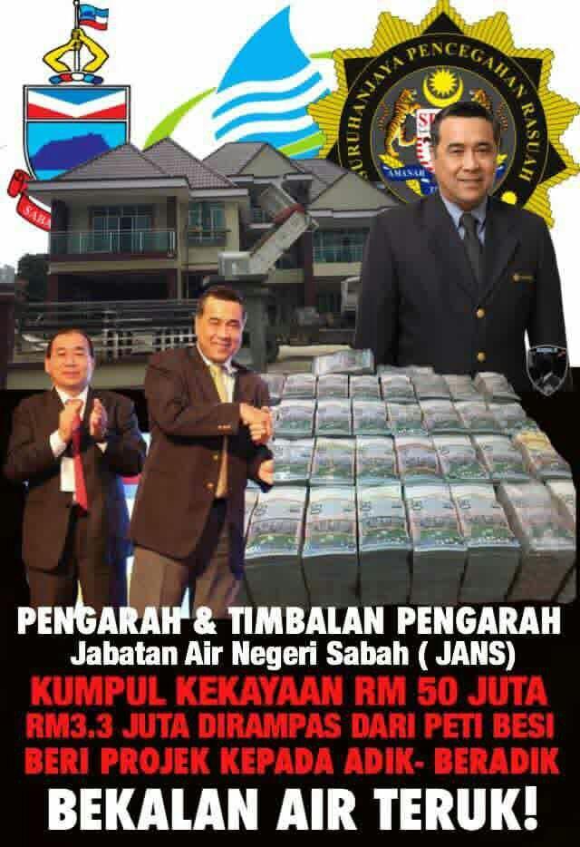 PENGARAH JABATAN AIR NEGERI SABAH DITAHAN SPRM. RM3 JUTA TUNAI DIRAMPAS!