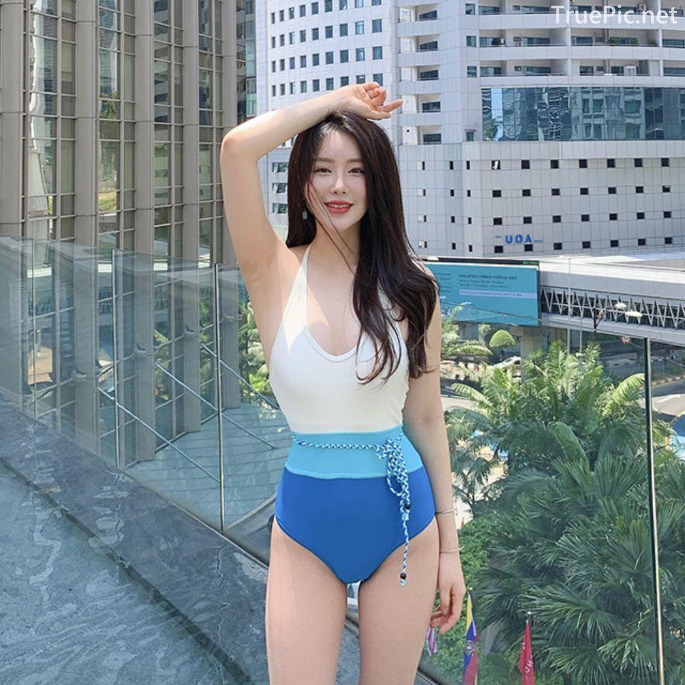 Korean fashion model Son Yeon Soo - Pocari Blue Color Monokini in the city - Picture 3