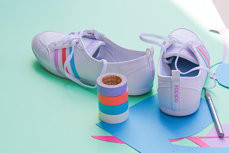 Zoom sur couleurs arc en ciel adidas