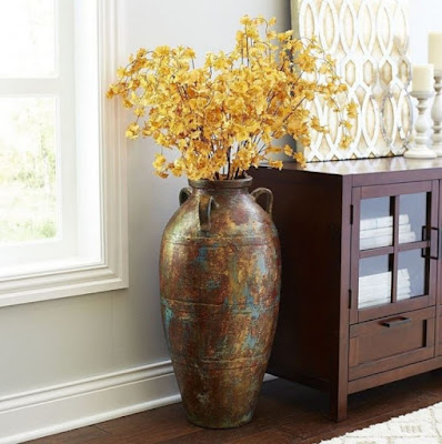 Decorative rustic floor vase for living room