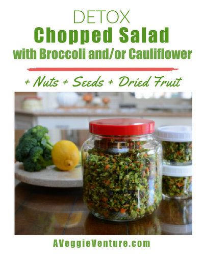 Detox Chopped Salad, another healthy salad ♥ A Veggie Venture with broccoli, cauliflower, dried fruit, seeds and nuts. Vegan, great for potlucks and parties.