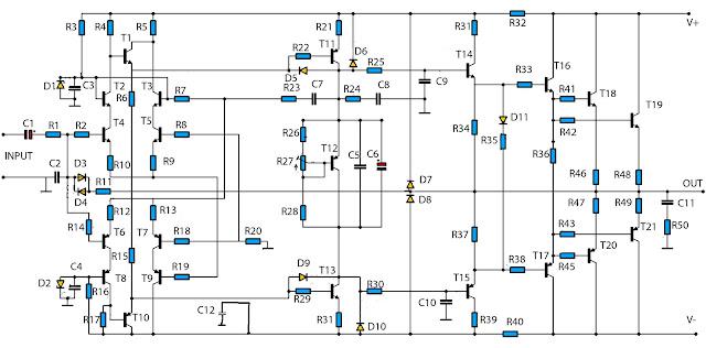 High Power Audio Amplifier 2800W Circuit Schematic Diagram
