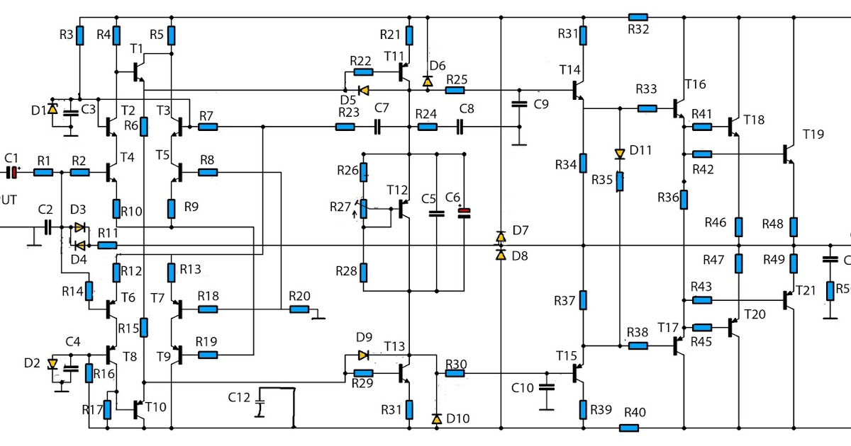High Power Audio Amplifier W Circuit Schematic Diagram