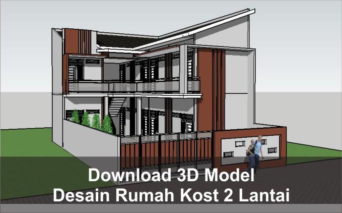 download rumah kost 2 lantai sketchup