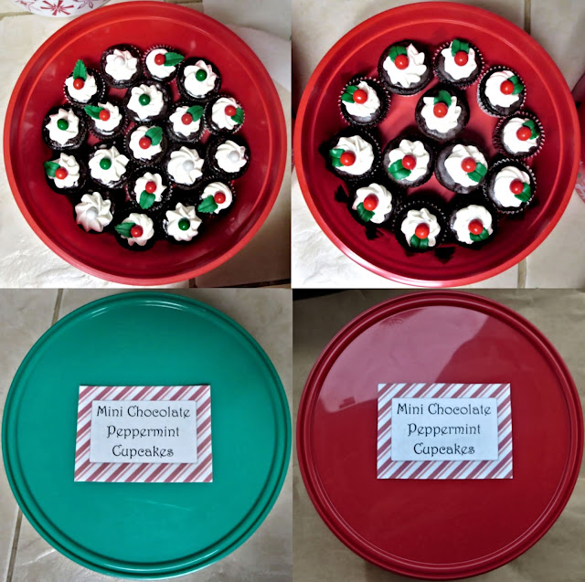 Christmas Chocolate and Peppermint Mini Cupcakes - Overhead View of Grouped in Containers and Lids with Labels